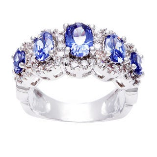 Simon Frank Silvertone Blue Oval 5-stone CZ Fashion Ring