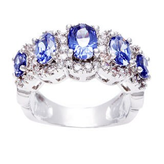 Simon Frank Silvertone Blue Oval 5-stone CZ Fashion Ring (5 options available)