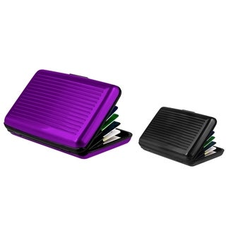 Zodaca Purple/ Black Aluminum Business Card Case (Pack of 2)