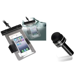 INSTEN Black Waterproof Bag/ Black Dust Cap for Cell Phone