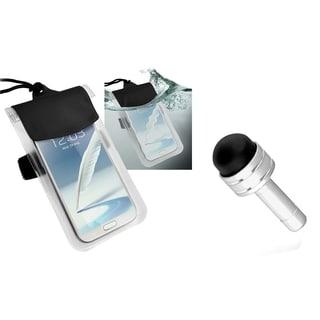 INSTEN Clear Waterproof Bag/ Silver Headset Dust Cap with Mini Stylus