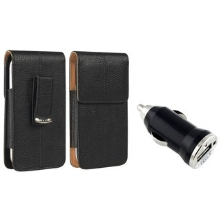 INSTEN Vertical Leather Phone Case Cover/ Black USB Mini Car Charger Adapter