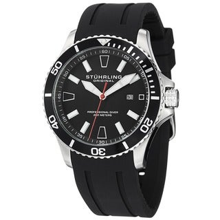Stuhrling Original Men's Regatta Bracera Japanese Quartz Strap Strap Watch - Black