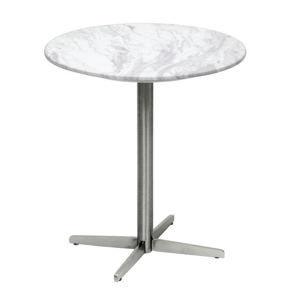 Baxton Studio Yaeger White Marble Modern End Table