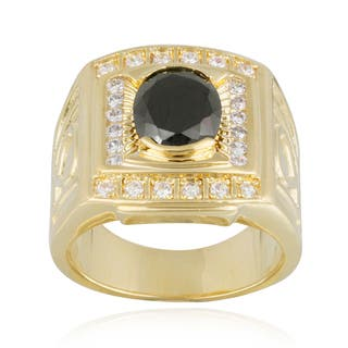 Icz Stonez Gold Overlay Oval Black And White Cubic Zirconia Men's Ring|https://ak1.ostkcdn.com/images/products/8502826/Icz-Stonez-Gold-Overlay-Oval-Black-And-White-Cubic-Zirconia-Mens-Ring-P15787992.jpg?impolicy=medium