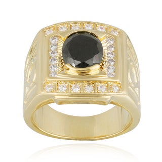 Icz Stonez Gold Overlay Oval Black And White Cubic Zirconia Men's Ring