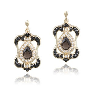 Glitzy Rocks Gold Over Silver Smokey Quartz, White Topaz and Diamond Accent Earrings