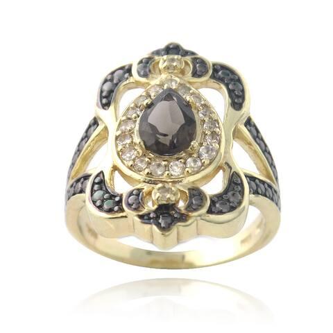 Glitzy Rocks Gold Over Silver Smokey Quartz, White Topaz and Black Diamond Accent Ring