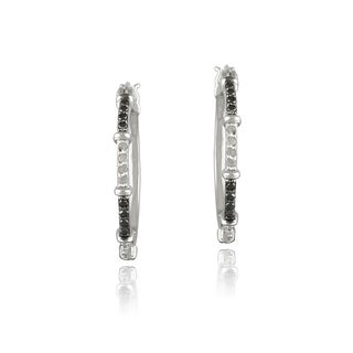 DB Designs Silvertone1/3ct TDW Black and White Diamond Hoop Earrings (I-J, I2-I3)