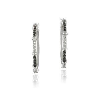 DB Designs Silvertone1/3ct TDW Black and White Diamond Hoop Earrings
