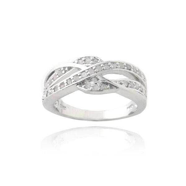 DB Designs Silvertone 1/3ct TDW Diamond Criss-cross Ring