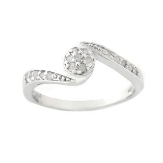 DB Designs Silvertone 1/5ct TDW Diamond Twisted Circle Ring (I-J, I2-I3)