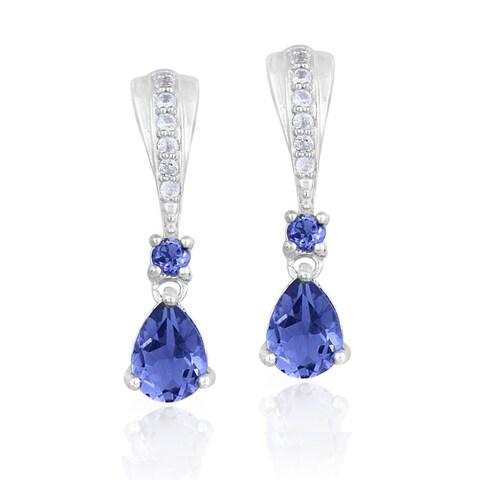 Glitzy Rocks Sterling Silver Iolite and White Topaz Earrings