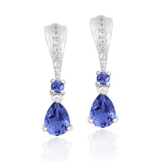 Glitzy Rocks Sterling Silver Iolite and White Topaz Earrings