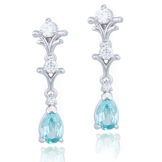 Glitzy Rocks Sterling Silver Light Blue Cubic Zirconia and White Sapphire Earrings