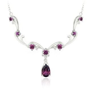 Glitzy Rocks Sterling Silver Rhodolite Necklace