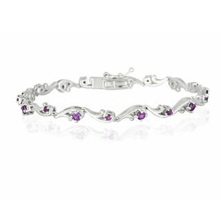Glitzy Rocks Sterling Silver Rhodolite Bracelet