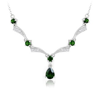 Glitzy Rocks Sterling Silver Chrome Diopside and White Topaz Necklace
