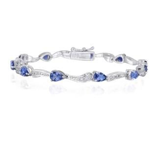 Glitzy Rocks Sterling Silver Iolite and White Topaz Bracelet