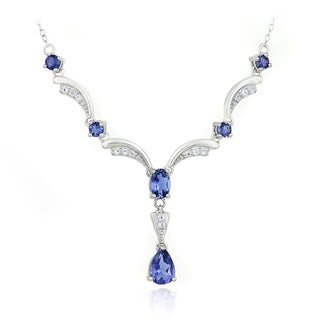 Glitzy Rocks Sterling Silver Iolite and White Topaz Necklace