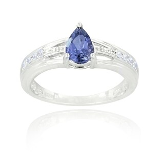 Glitzy Rocks Sterling Silver Iolite and White Topaz Ring (More options available)