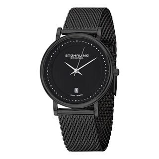 Stuhrling Original Men's Casatorra Elite Black Swiss Quartz Bracelet Watch