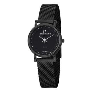 Stuhrling Original Women's Lady Casatorra Elite Diamond Black Swiss Quartz Bracelet Watch