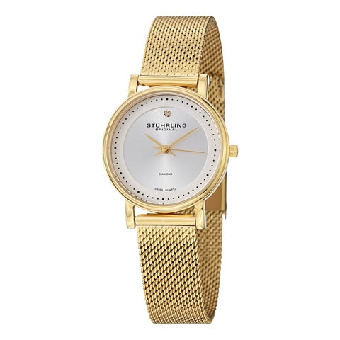 Stuhrling Original Women's Lady Casatorra Elite Diamond Swiss Quartz Bracelet Bracelet Watch - GOLD