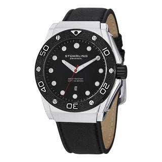 Stuhrling Original Men's Apocalypse Storm Quartz Leather-strap Watch with Black Dial