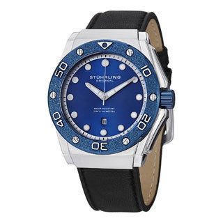 Stuhrling Original Men's Apocalypse Storm Quartz Leather-strap Watch with Blue Dial