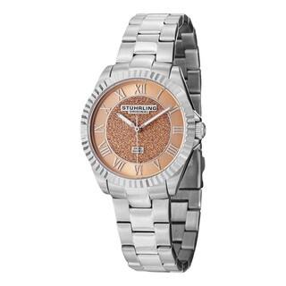 Stuhrling Original Women's Shimmer Swiss Quartz Bracelet Watch with Pink Dial