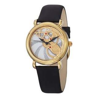 Stuhrling Original Women's Pirouette Swiss Quartz Black Strap Watch
