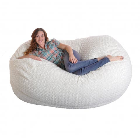 6-foot Soft White Fur Large Oval Microfiber Memory Foam Bean Bag Chair