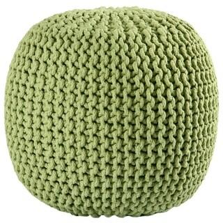 Green Cotton Rope Pouf Ottoman