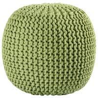 """16"""" Green Cotton Rope Pouf Ottoman"""