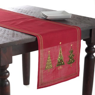 Embroidered Christmas Tree Design Red Polyester 70x16 Inches Table Runner