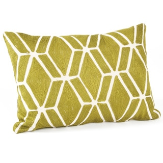 Fretwork Design Feather Filled Throw Pillow