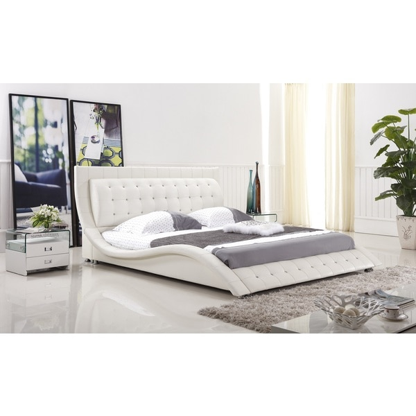 Dublin modern white queen size platform bed free shipping today 15788186 - Benefits of contemporary queen bed ...