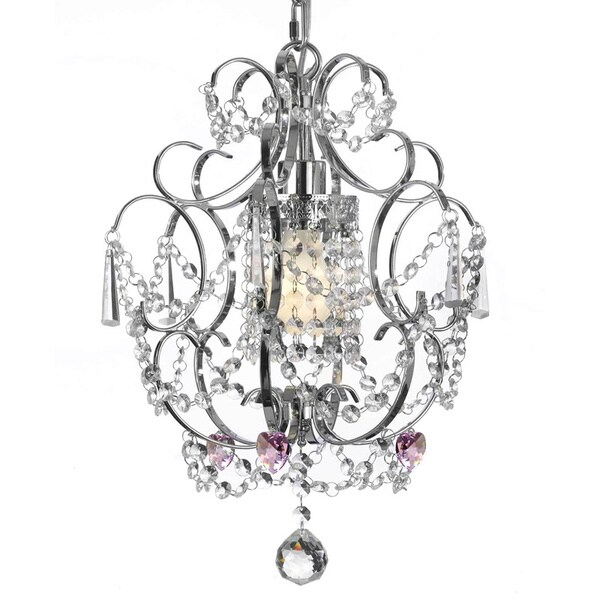 Gallery Chrome Crystal Pink Heart Chandelier