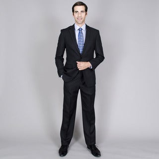 Men's Black Stripe 2-button Wool and Silk Blend Suit