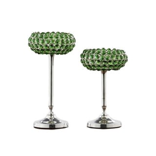 Green Crystal Candle Holder (Set of 2)