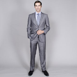 Men's Grey Windowpane Two-Button Suit with Two Front Pockets