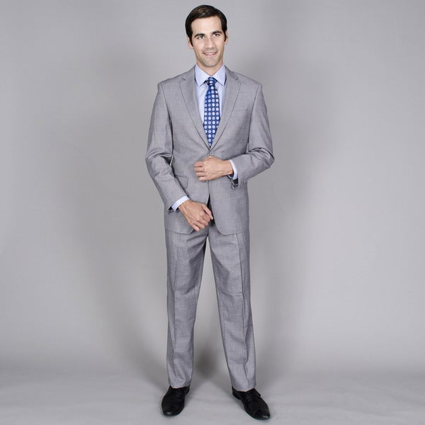 Men's Grey Teakweave 2-button Wool and Silk Blend Suit - Free