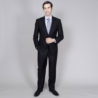Men's Black Tone-on-Tone 2-button Suit