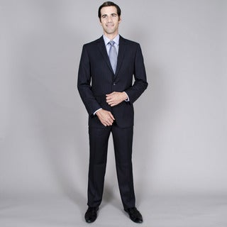 Men's Navy Stripe 2-button Single Breasted Suit