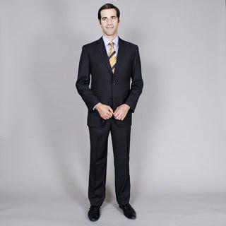 Men's Black Stripe Double Vent 2-button Suit