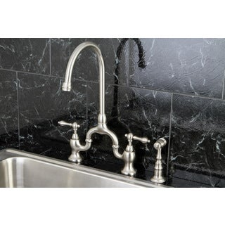 Vintage High Spout Brushed Nickel Bridge Kitchen Faucet With Side Sprayer Overstock 8504129