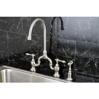 Vintage High Spout Satin Nickel Bridge Kitchen Faucet With Side Sprayer