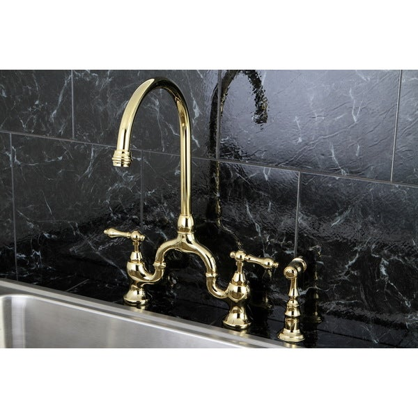 shop vintage high spout polished brass bridge kitchen faucet with side sprayer free shipping. Black Bedroom Furniture Sets. Home Design Ideas
