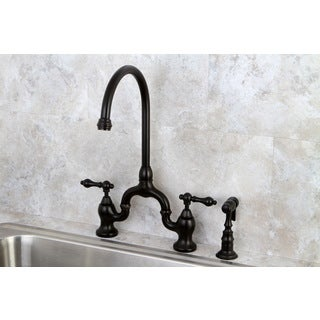 Superbe Vintage High Spout Oil Rubbed Bronze Bridge Kitchen Faucet With Side Sprayer